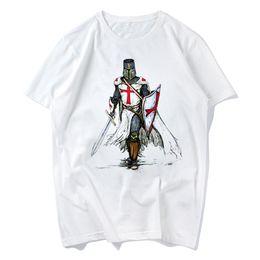 Wholesale Wholesale Hipster Clothes - Templar Knight White Print T Shirt 2018 Summer New Men's O-Neck Tshirt Short Sleeve Hipster Swag Harajuku Men's Clothing s-xxxl