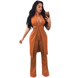 Wholesale Women Yellow Blazers - 2017 New Fashion Women Two Piece Set Long Vest V-Neck Sleeveless Flare Pants Casual Coat Trousers Set Solid Outfit Outerwear