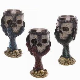 Wholesale skull mugs - LIYIMENG Double Wall Stainless Steel 3D Skull Drinking Whisky Mug Personalized Dragon Bone Skull Metal Grape Wine Goblet Cups