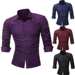 muscle men dresses Promo Codes - Luxury Fashion Men Slim Fit Shirt Long Sleeve dress Shirts Muscle blouse Tops US smart casual