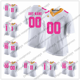 Wholesale pink kelly - Custom Tennessee Volunteers 2018 Mother Days Pink Jerseys NCAA College Football white Stitched any name number Manning Kamara Kelly S-3XL