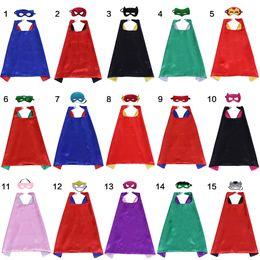 Wholesale Halloween Costumes - 70*70CM Double Layer Superhero Cape and Mask Kids Clothes Superhero Costume Halloween Satin Cape Felt Mask for Kids 2pcs set