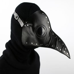 Black Steampunk Gothic Retro Plague Becco Doctor Bird Mask Halloween Natale Costume Puntelli in pelle PU Accessorio di moda G220S da pesce a faccia fornitori