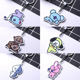 Wholesale film characters - Film Cartoon Keyring Acrylic BTS Doll Key Chain Key Ring Hold Bag Hangs Fashion Key Buckle Jewelry 2 1yh Y