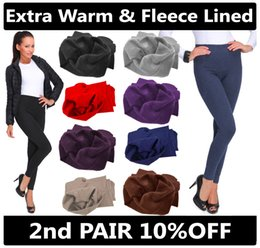 Wholesale Thermal Leggings Wholesale - New Women Ladies Winter Elastic High Waist Fleece Thermal Warm Thick Full Length Slim Skinny Leggings Colours