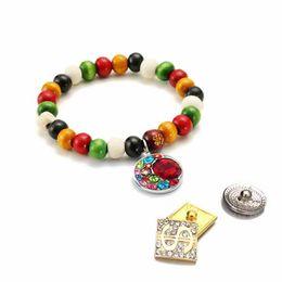 Jóia com botão de madeira on-line-Novo 174 Intercambiáveis Doces Cores Expansível Stretch Wood Bead Bracelet fit 18mm Botão Snap Jóias Mulheres Bangle Presente