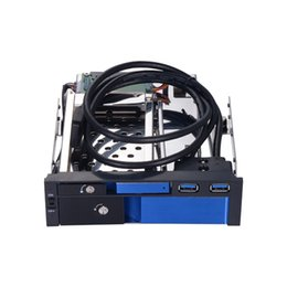 """Wholesale Usb Sata Port - 2.5"""" inch and 3.5"""" inch SATA III HDD SSD for 5.25"""" optical space trayless mobile rack with 2 port USB3.0 all aluminum alloy"""