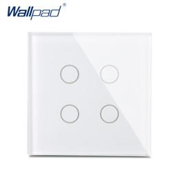 Nuovo arrivo 4 Gang 1 Way Wall Touch Switch Wallpad Pannello di cristallo di lusso UK Switch Touch Interrupteur Bianco / Nero supplier gang wall switch black da interruttore a parete della banda nera fornitori