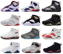 Zapatos de baloncesto n7 online-Zapatillas de baloncesto para hombre 7s baratas VII Negro Burdeos Hare olímpico UNC Noches Blue Raptor Nothing N7 Zapatillas deportivas Zapatillas de deporte