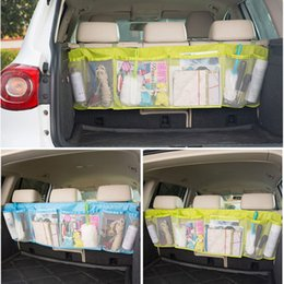 2019 redes troncales para automóviles Durable Car Organizer Back Tronco Trasero Seat Elastic String Holder Nets Mesh Pocket Cage Carrying Storage Bag Accesorios Auto redes troncales para automóviles baratos