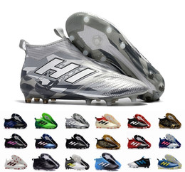 Wholesale Ground Green - Ace 17+ Purecontrol Champagne Outdoor Soccer Cleats Firm Ground Cleats Training Boost FG NSG ACE 17 Mens Football Boots Turf Soccer