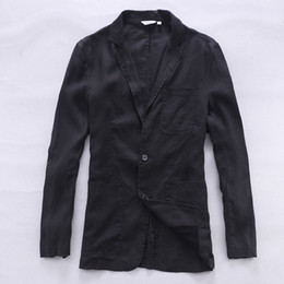 Wholesale Flax S - New arrival Italy linen suit men fashion business suits men pure flax brand clothing casual suit mens black blazer masculino