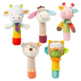 Wholesale Bb Bears - 0-3 Year Baby Animal Stuffed Plush Rattles Doll Hand Bells Owl Bear BB Sound Educational Musical Kids Toys for Children Gifts