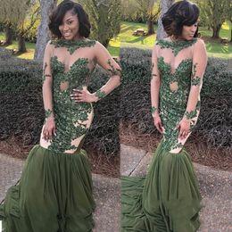 Jägerkleider für mädchen online-Sexy Hunter Green Mermaid Prom Dresses Sheer Neck Long Sleeves Appliques Tulle Chiffon Black Girls Party Dresses