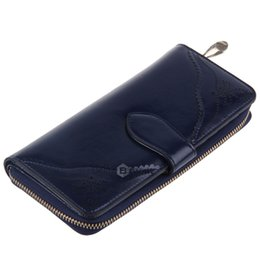 Wholesale Genuine Blue Sapphire - Solid Hollow Zipper Hasp Design Soft Wallet for Ladies Sapphire Blue