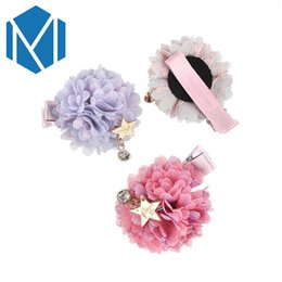 Wholesale Bubble Sweet - M MISM Sweet Girls Fabric Flower Ball Hairpins Cute Mesh Floral Barrettes Nifty Children Lace Bubble With Star Pendant Hair Clip