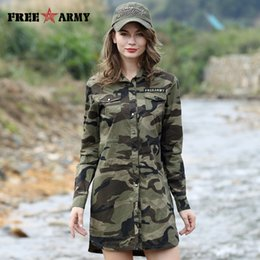 Wholesale Women Camouflage Fashion Shirts - FREE ARMY Camouflage Long Section Shirt Women Long Sleeve Clothing Top Quality Slim Fit Designer Casual Fashion Female Shirt GS-8718C