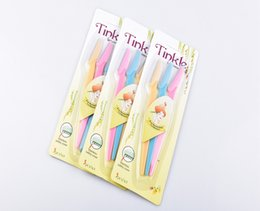 Wholesale eyebrows blade - 10packs lot 3pcs pack Women Safe Eyebrow Trimmer Colorful Makeup Facial Hair Razors Knife Blade Brow Trimmer Remover