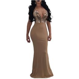 Бежевые подтяжки онлайн-Высокое Качество Мода Dress 2018 Новые Подтяжки Блестки Сращивание Dress Sexy Бежевый Backless Party Dresses Ночной Клуб Dress Vestidos