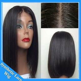 Wholesale Cheap Synthetic Wigs For Women - Middle Parting Heat Resistant Hair Cheap Synthetic Short Bob Wigs #1B 12-16 Inch Silky Straight Synthetic Lace Front Wig for Black Woman