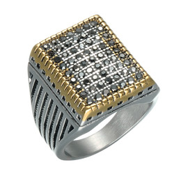 Wholesale vintage crystal ring - Punk Black Crystal Pave Square Mens Signet Rings Gold Silver Color Titanium Stainless Steel Vintage Rings for Men HIP Hop Jewelry