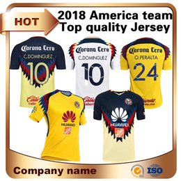 Wholesale Mx Brown - Top Thai Quality 2018 LIGA MX Club America soccer Jerseys America team 10# C.DOMINGUEZ 24# O.PERALTA 22# P.AGUILAR Football shirt