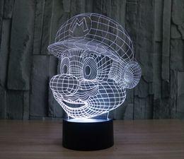 Wholesale Super Mario Wedding - [Seven Neon]free Shipping Super Mario Bros shape Acrylic 7Colors Desk Lamp 3D Lamp Novelty gift Led Night Light Millennium Falcon Light