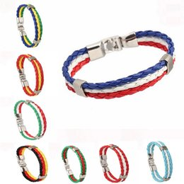 Wholesale Br Bracelet - FIFA World Cup 2018 Football Bracelets AG BR ES Woven Braided National Flag Charm Bracelet For Women Men Fans Fashion DIY Wristband Jewelry