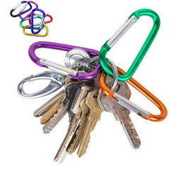 Wholesale keys chain hook - Outdoor Sports Travel Camping Climbing D Shape Aluminum Alloy Clip Key Chain Snap Carabiner Durable Hook BBA264