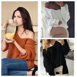 Wholesale Thin White V Neck Sweater - Women Irregular V Neck Knitted Shirts Long Sleeve Sweater Jumper Pullover Casual Knit Top Sweaters 3 Colors LJJO4386