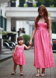 Wholesale Children S Summer Dresses - 2018 Spring mother daughter dresses braces dress family matching clothes bowknot summer children clothing overknee dress Sleeveless
