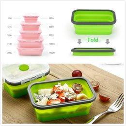 Wholesale Foldable Containers - Meal Prep Container Lunch Box 4pcs Set Reusable Microwave Oven Foldable Silicone lunch box 350 500 800 1200ml Bento Box Salad Bowl