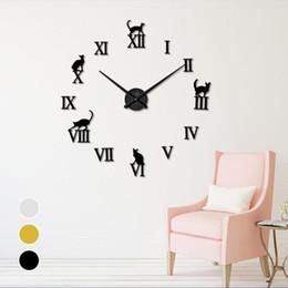 BRICOLAGE Miroir Horloge Murale Mignon Chat Lettre 3D Décor Horloges Autocollants Aiguille De Quartz Salon Chambre Chambre Décoration Murale Horloge S3 ? partir de fabricateur