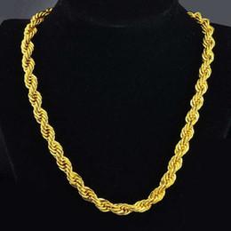 Correntes de corda de 24 polegadas on-line-Hip Hop 24 Polegadas Mens Corda Sólida Cadeia Colar 18 k Yellow Gold Filled Declaração Nó Jóias Presente 7mm de Largura