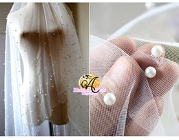 Wholesale Embroidered Lace Material - 160CM Width White pearls Beading tulle fabric with bounce mesh bride veil fabric wedding dress gauze clothing materials CL01