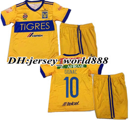 Wholesale Star Boy Shirt - best quality 17 18 kids Mexico club Tigres UANL home 6 stars soccer Jersey Kits 2018 GIGNAC GUERRON 3RD Away child Football Shirts