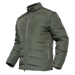 Chaqueta de los hombres de la historia de Shangai Grueso cálido abrigo táctico Parka 90% pato blanco abajo manga desmontable Moda chaleco abajo desde fabricantes