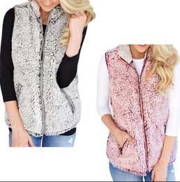 Wholesale Wholesale Faux Fur Vests - Women Vest Winter Warm Outwear Casual Faux Fur Zip Up Sherpa Jacket Sherpa Casual Sleeveless Coat OOA4232