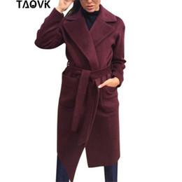 red woven belt Australia - TAOVK Women woolen Long sleeve Medium-long notched collar open front parka belt Coat 2019
