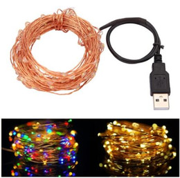 Wholesale Led Lights For Weddings - 10M 33FT 100led USB Led Copper Wire String Lights Fairy Lights Waterproof for Christmas Festival Wedding Party Garland Decoration