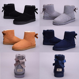 Wholesale Cheap Leather Ankle Boots Women - Newest cheap Bowtie WGG Women's Australia Classic kneel half Boots Ankle boots Black Grey chestnut navy blue red Women girl boots 5--10