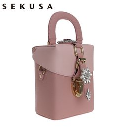 Wholesale Pink Rhinestone Purses - SEKUSA Pu Diamonds Women Handbags Flap Style Shaped Rhinestones Accessory Small Lady Purse Chain Shoulder Messenger Evening Bag