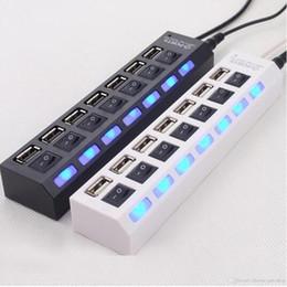 Hub off switch online-HUB USB a 7 porte con interruttore HUB multi LED ad alta velocità USB 2.0 480 Mbps On Off Switch Splitter USB portatile con pacchetto di vendita DHL