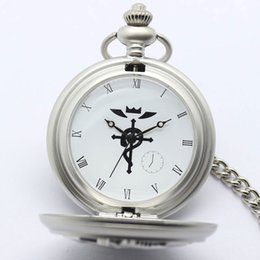 Wholesale Fullmetal Alchemist Necklace - Anime Fullmetal Alchemist Edward's Pocket Watches Vintage Silver Fob Watches with Pendant Necklace Watch reloj de bolsillo
