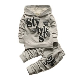 Wholesale Kids Leather Pants - Children Clothing 2pcs sets Hooded Coat+pants Fashion letter baby Boy Kid Autumn Winter Suit Fall Cotton sport tracksuit outdoor