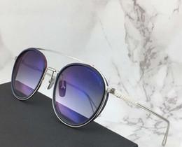 Dedos gafas online-Diseñador Gafas Sistema de dedos Dos gafas de sol de piloto Plateado / Azul Gafas de sol para hombre Diseñador de lujo Gafas de sol Sombras Nuevo
