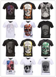 Wholesale shirt sequins - 2018 Autumn Men T Shirt Fashion Short Sleeve t-shirt Clothing Casual Skull Letter print Hip Hop Male Tops Tee T Shirt