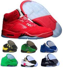 Wholesale basketball tennis shoes - Cheap 5 Basketball Shoes Sneaker 5s V Men Women Red Suede Oregon Ducks Olympic Grape Raptors Cement Classic Designer Brand Tennis Sport Shoe