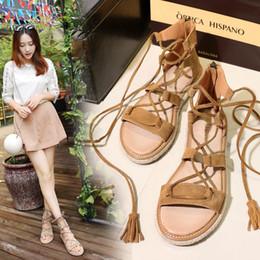 Wholesale Sandals 33 - Roman leather flat shoes straw hemp lace female code 33-42 open toe fringed sandals