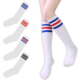 Argentina Corea estilo universitario WomenGirl tubo largo tres / 3 calcetines a rayas de algodón de moda de alta calidad calcetines de tubo de lujo Suministro